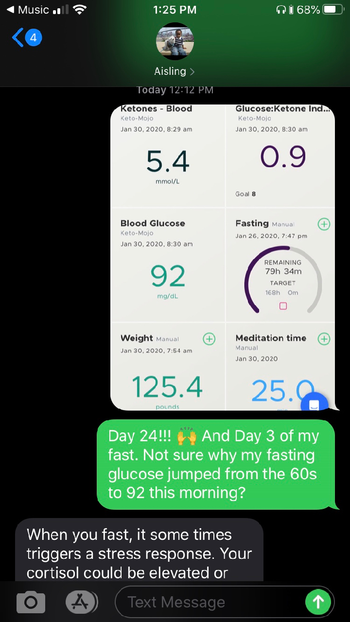 Heads Up app showing water only fast alongside other health metrics