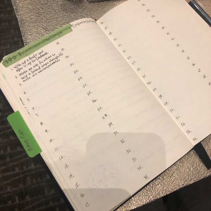 Bullet Journal with 100 Rejection Exposure Challenge
